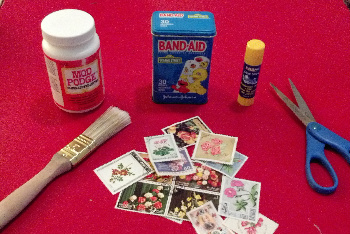 Glue, Paintbrush, Paper, Something to Decoupage, Mod Podge and Scissors