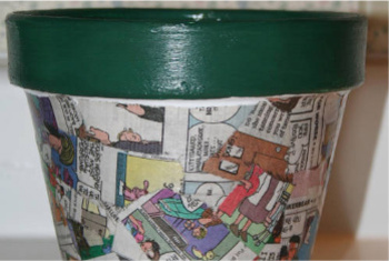 A Decoupaged Flower Pot