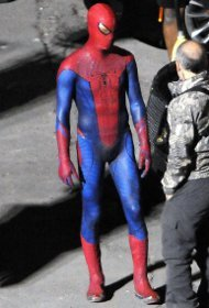 Andrew as Spidey on set