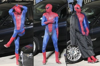 Spidey goofs off on set