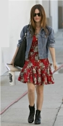 Rachel Bilson rocks denim over a floral dress