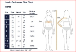 Lands End Junior Size Chart