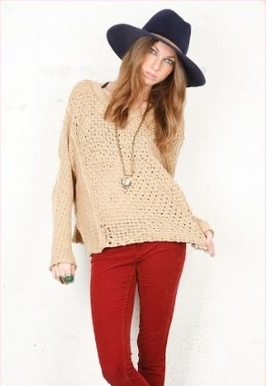 Free People oversized crocheted sweater