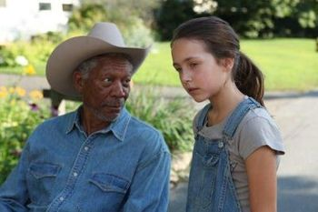 Emma with Morgan Freeman