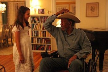 Emma as Finnegan with Morgan Freeman