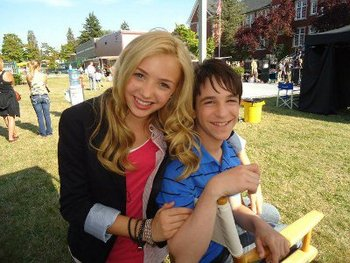 Zach on set with Peyton List who plays Holli