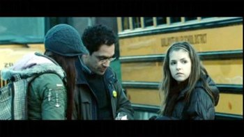 Anna (right) on the Twilight set