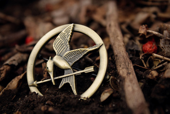 The famous Mockingjay pin