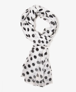 Turn a plain outfit into a fashion statement with a polka dot scarf