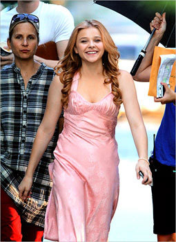 Chloe on set going to shoot the prom scene