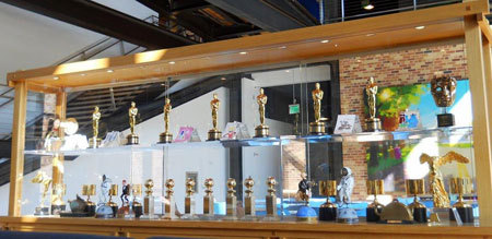 Awards case in Pixar lobby
