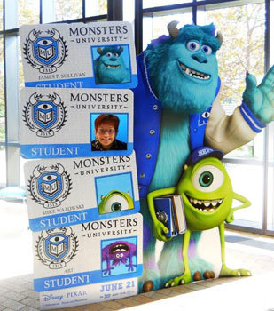 We become a Monsters University student in the Pixar lobby
