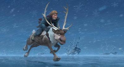 Kristoff rides reindeer Sven