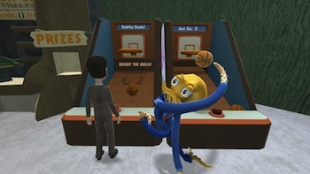 Shooting some hoops, Octodad style.