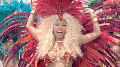 Nicki in one of her wild outfits
