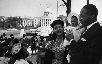 Martin with his wife Coretta and children