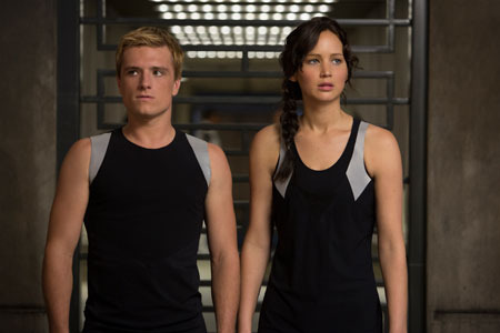 Peeta and Katniss in training