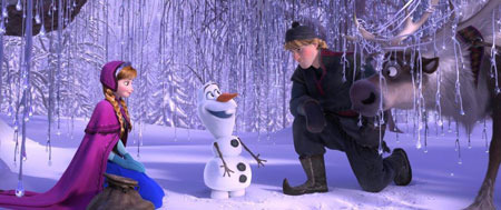 Anna with Olaf, Kristoff and reindeer Sven