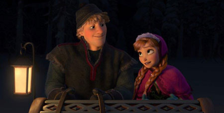 Anna and Kristoff in his sleigh