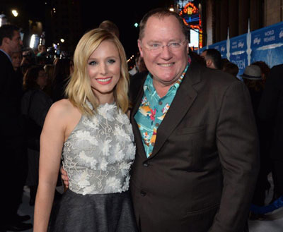 Kristen Bell with Pixar Head John Lasseter