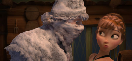Anna meets rugged and snow-covered mountain man Kristoff for the first time