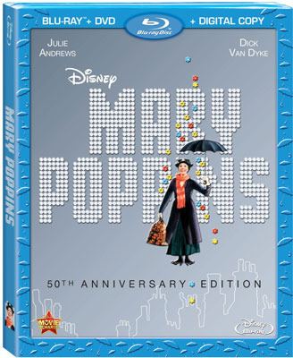 Mary Poppins 50th Anniversary Blu-ray and DVD Cover