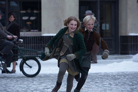 Liesel (Sophie) and friend Rudy (Nico Liersch) have fun in tough times