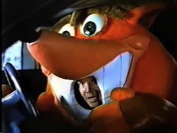 Crash Bandicoot giving Mario a hard time.