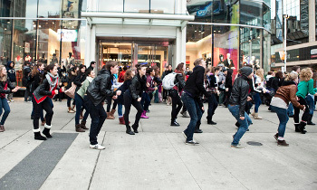 Many eye-catching flash mobs are dance-based