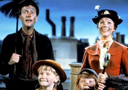 A scene from Mary Poppins with Dick Van Dyke and Julie Andrews