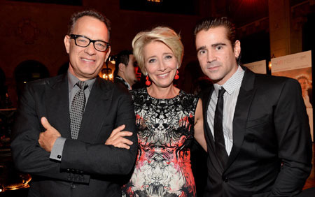 Tom Hanks, Emma Thompson and Colin Farrell at a premiere