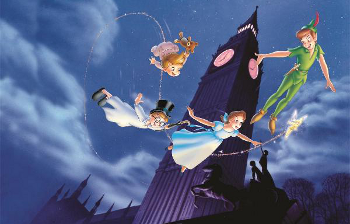 Peter takes Wendy Darling and her two brother to Never Land
