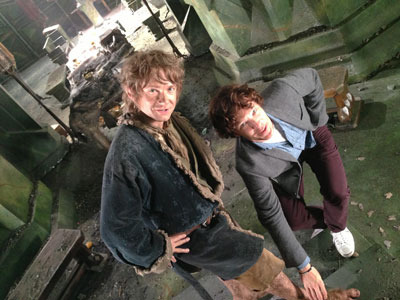 Benedict visits Martin (Bilbo) on set