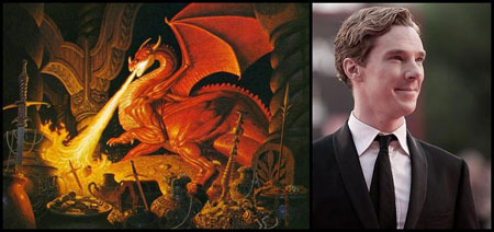 Benedict with one of the many book illustrations of Smaug