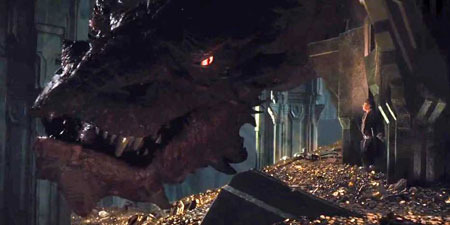 Smaug the dragon frightens Bilbo