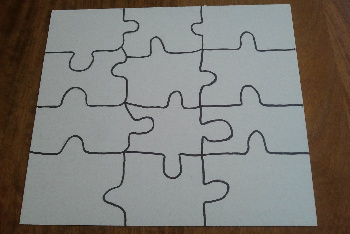 On the Back of the Cardboard Use a Pencil to Draw Puzzle Shapes