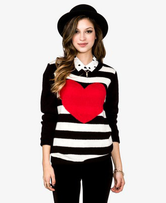 Heart stripe sweater, $18.75