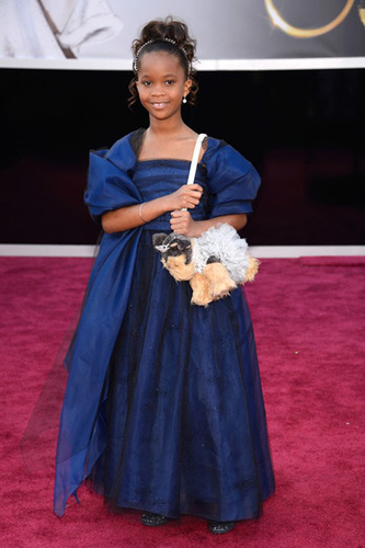 Quvenzhane Wallis in Armani Junior and dog purse