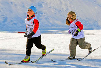 Kids racing Cross-Country Skiing