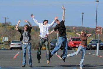 Teens Jumping