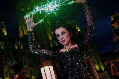 Evanora (Rachel) tosses her lightning