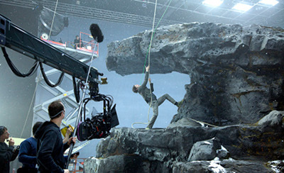 Jim shoots a special effects scene on set