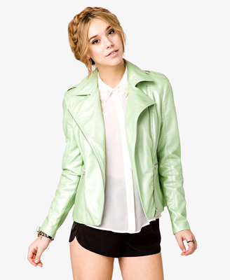 Mint faux-leather jacket from Forever 21, $29