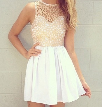 White Dress with Mesh Overlay from Pinterest.com
