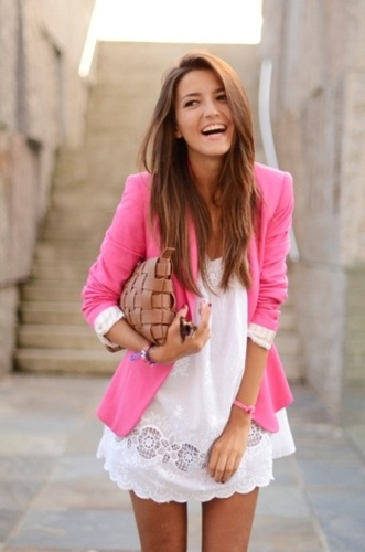 White Outfit with Pink Blazer from Pinterest.com