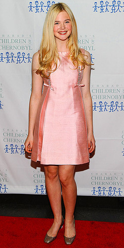 Elle Fanning is pretty in pink