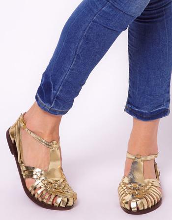 Gold sandals, $45