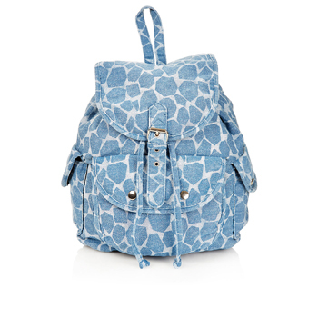 Topshop denim printed backpack, $50