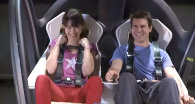 Olga and Tom on set in the bubbleship cockpit