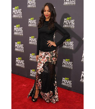 Zoe Saldana gives floral print an edge with a sheer black panel